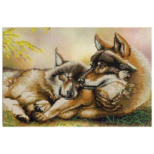 Купить Пара волков (рис. на сатене 29х39) 29х39 Конек 9797, Конёк, Канва