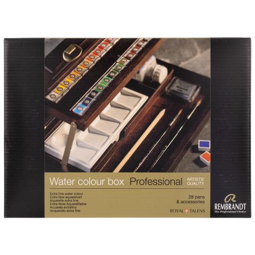 Купить Набор акварельных красок Rembrandt Professional 28 кювет + аксессуары в деревянном коробе, Royal Talens, Краски