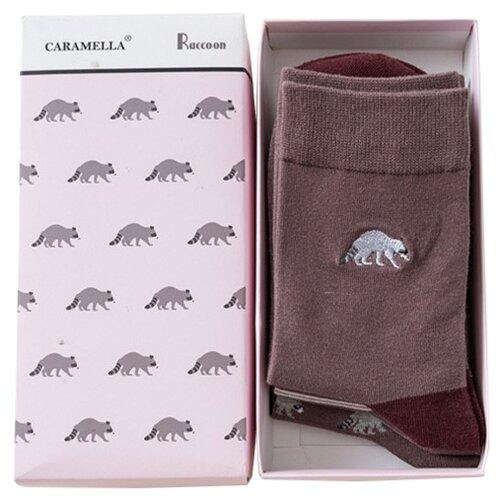 Носки Caramella Еноты, 3 пары, размер 23-27, бордовый