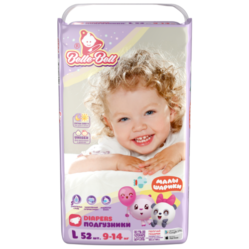 Belle-Bell подгузники Малышарики Extra dry+ L (9-14 кг) 52 шт. подгузники pampers active baby dry 4 8 14 кг 147 шт