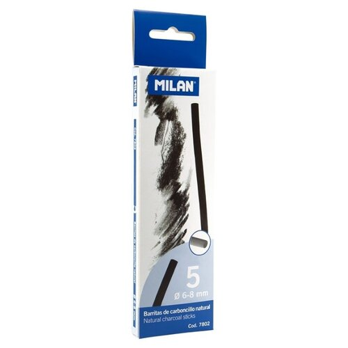 Купить Уголь для рисования натуральный Milan, диаметр 6-8мм, 5шт, 7802, Пастель и мелки