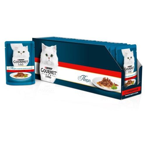 Корм для кошек Gourmet Перл с говядиной 24шт. х 85 г (кусочки в соусе) корм для кошек gourmet перл с говядиной 24шт х 85 г кусочки в соусе