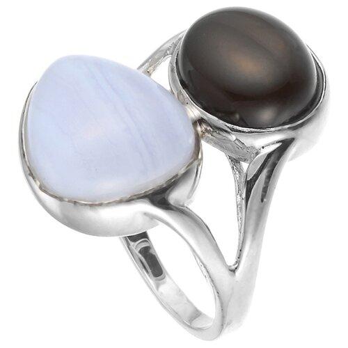 Фото - JV Кольцо из серебра с агатами SR00327-09-SS-GAG-OX-WG, размер 17 jv кольцо с ониксами и фианитами из серебра pr150002b ox 001 wg размер 17
