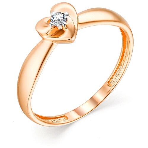 АЛЬКОР Кольцо с 1 бриллиантом из красного золота 13466-100, размер 16.5 фото