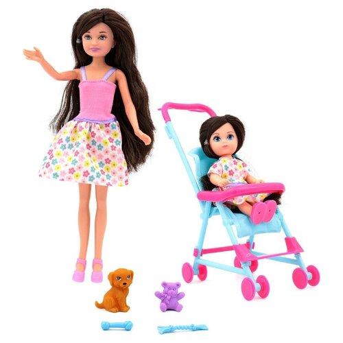 Кукла Funky Toys Мила с Вики в коляске и с собачкой, 70005 funky toys кукла funky toys мила 23 см с куклой вики 12 см на самокате и с собачкой