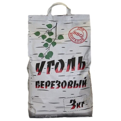 УгольФорест Уголь березовый для мангалов, 3 кг