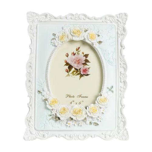 Фоторамка Yiwu Zhousima Crafts Белые розы с жёлтой сердцевиной 10x15 см белый/голубой