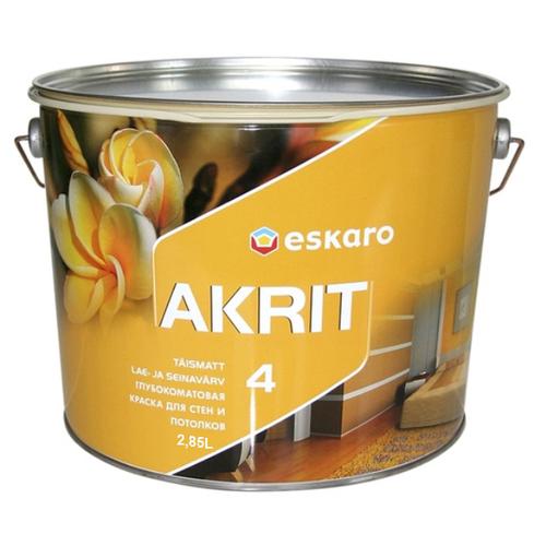 Краска акриловая Eskaro Akrit 4 матовая белый 2.85 л