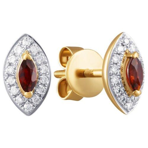 JV Золотые серьги с бриллиантами, гранатом ME34153-GR-RG-S-1-SR-GR-PINK