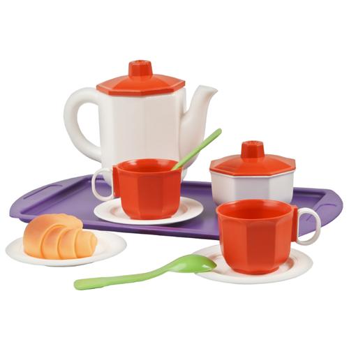 Купить Набор посуды ОГОНЁК Чайный набор С-237 белый/красный/фиолетовый, Игрушечная еда и посуда