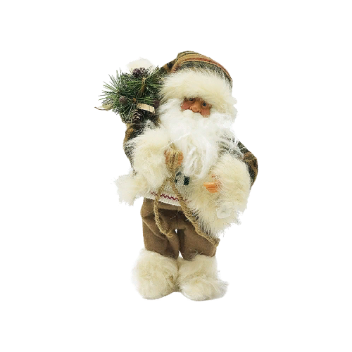 Фигурка Maxitoys Дед Мороз в шубе с музыкой 30 см коричневый