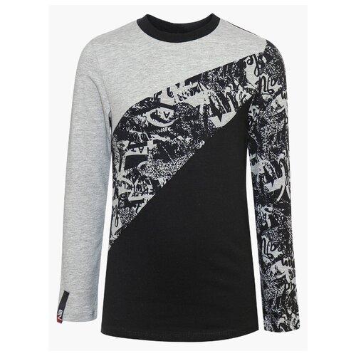 Купить Лонгслив Nota Bene размер 134, серый/черный, Футболки и майки