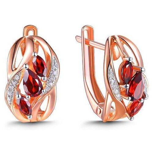 ЛУКАС Серьги с гранатами и бриллиантами из красного золота E01-D-70640E001-R17 серьги из золота e01 d e59474 cp