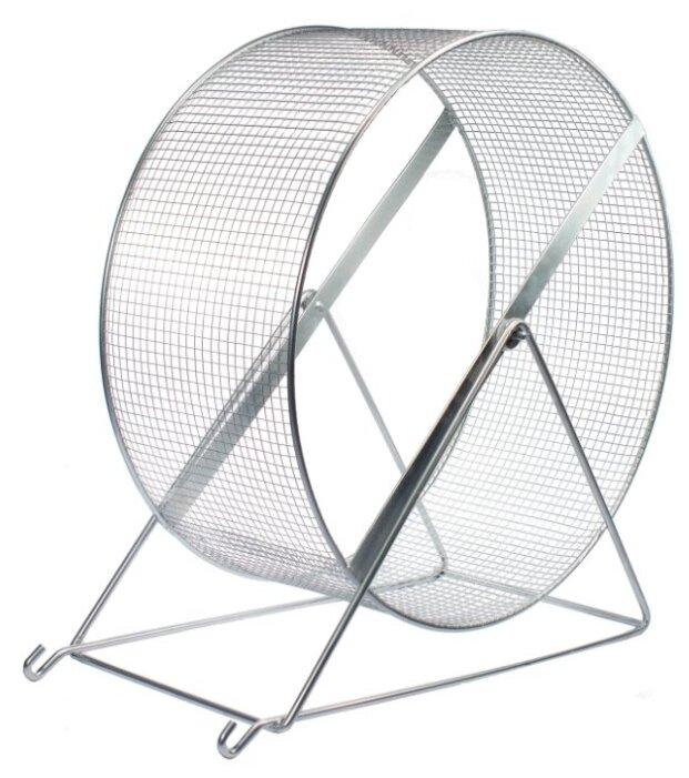 Игрушка для грызунов Дарэлл Колесо с подставкой, металл, сетка, 35 см