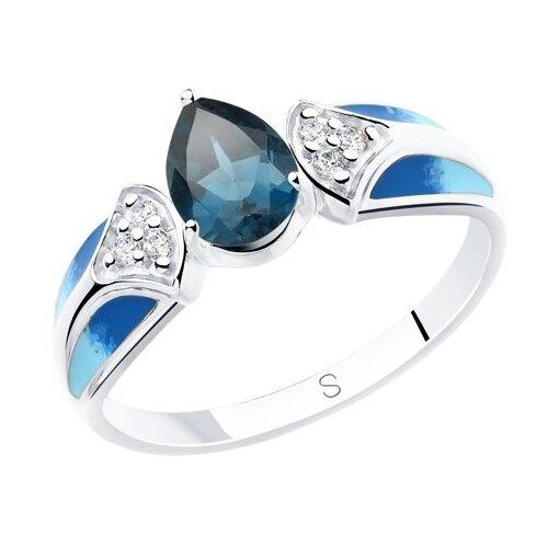 SOKOLOV Кольцо из серебра с эмалью и синим топазом и фианитами 92011801, размер 17.5 фото