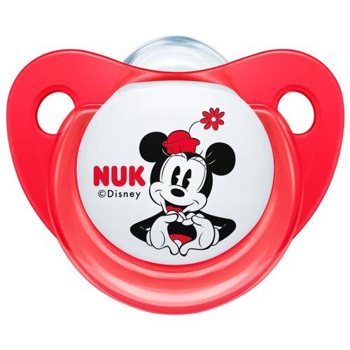 Купить Пустышка силиконовая ортодонтическая NUK Trendline Disney Mickey Mouse 6-18 м (1 шт) красный, Пустышки и аксессуары