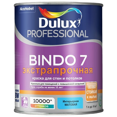 Фото - Краска латексная Dulux Bindo 7 моющаяся матовая белый 1 л краска водно дисперсионная dulux bindo 7 экстрапрочная моющаяся основа вс 1 л