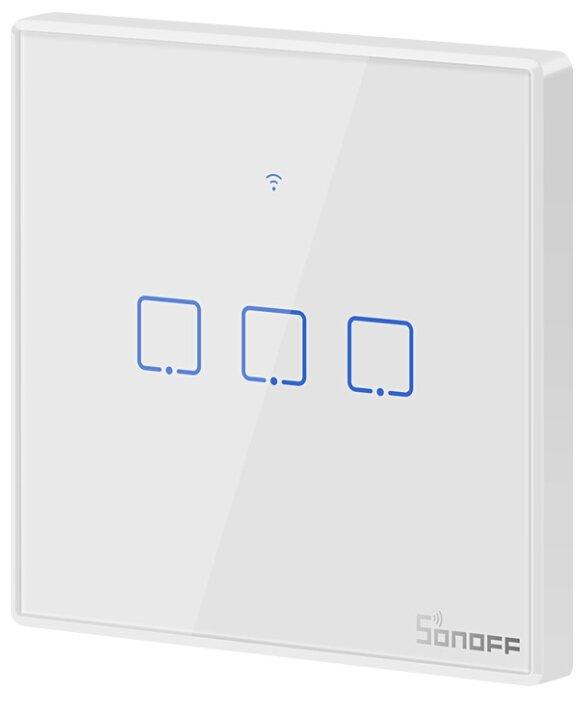 Выключатель с электронной коммутацией Sonoff T2EU3C, белый фото 1