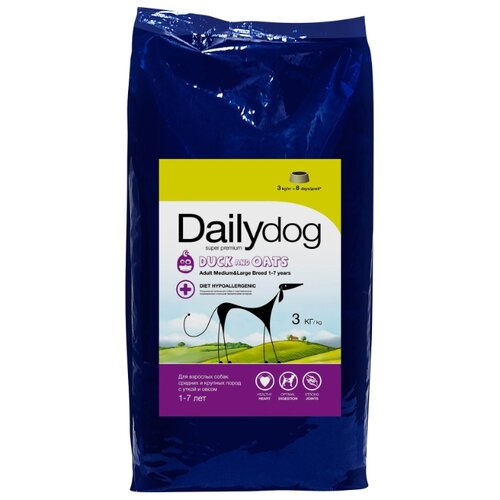 Корм для собак Dailydog (3 кг) Adult Medium and Large Breed Duck and Oats yifang chu oats nutrition and technology