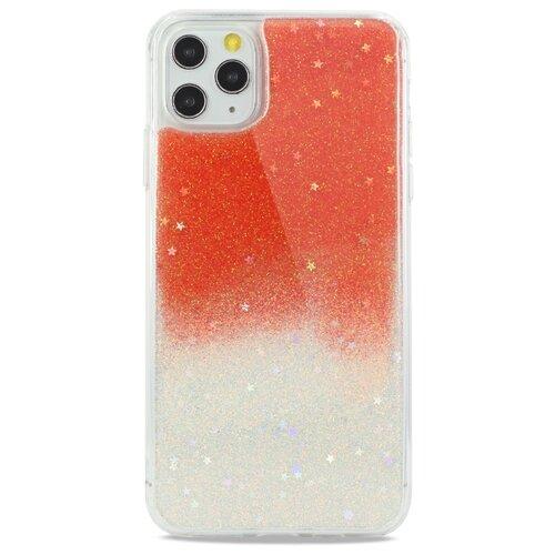 Силиконовый двуцветный чехол для (Эпл) iPhone 11 Pro Max Гель с Блестками / Pastila (Оранжевый)