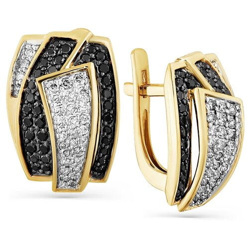 Мастер Бриллиант Золотые серьги с бриллиантом, черным бриллиантом 2-107-750-55
