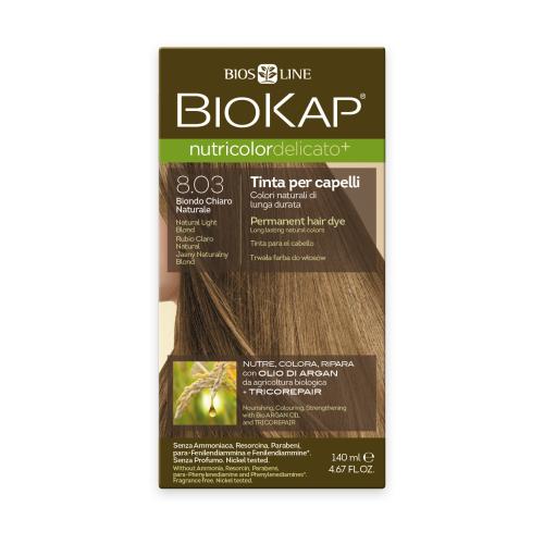 BioKap Nutricolor Delicato+ стойкая крем-краска для волос, 8.03 блондин натурально-светлый wellaton стойкая крем краска для волос 12 0 светлый натуральный блондин