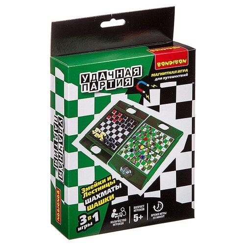 Набор настольных игр BONDIBON Шахматы, шашки, змейки и лестницы ВВ3484 магнитная игра змейки и лестницы