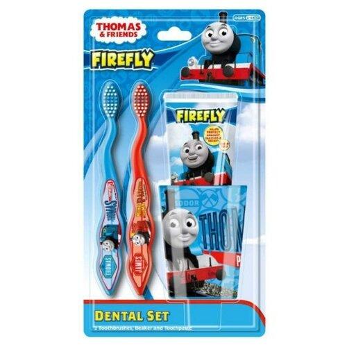 Купить Набор щетка + паста + стакан Dr. Fresh Thomas&Friends TF-15 с 3-х лет, 75 мл, синий/красный, Гигиена полости рта