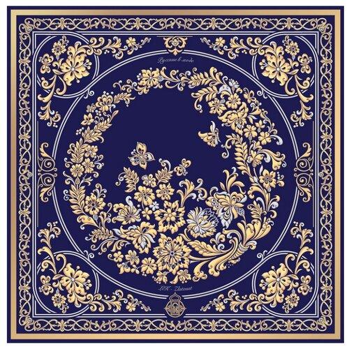 Платок Русские в моде by Nina Ruchkina Златоустовский букет 100% шёлк синий