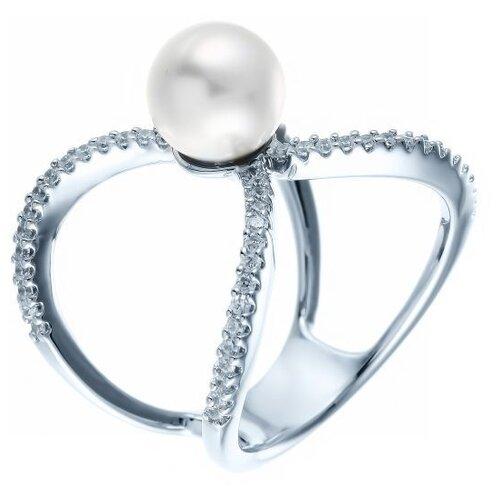 Фото - JV Кольцо с жемчугом и фианитами из серебра YC0091R-KO-WM-001-WG, размер 18 jv кольцо с жемчугом и фианитами из серебра ol01367d ko wm 001 wg размер 17