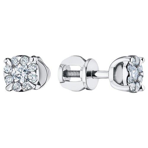 ЭПЛ Якутские Бриллианты Пусеты из белого золота с бриллиантами п09с101538-0.369