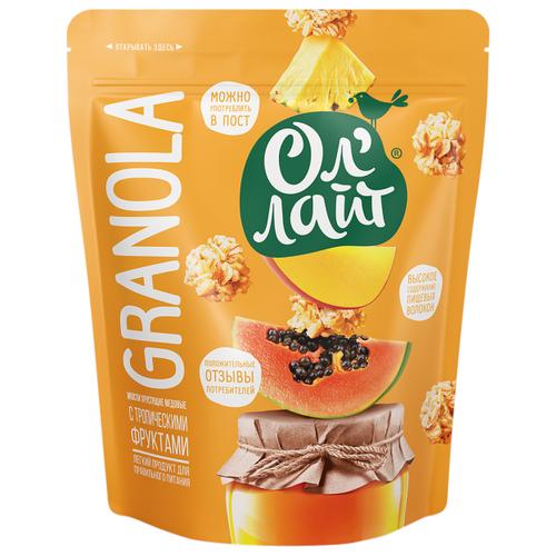 Гранола Ол' Лайт медовая с тропическими фруктами, дой-пак, 280 г гранола verestovo хлопья банан малина воздушные шоколадные шарики дой пак 300 г