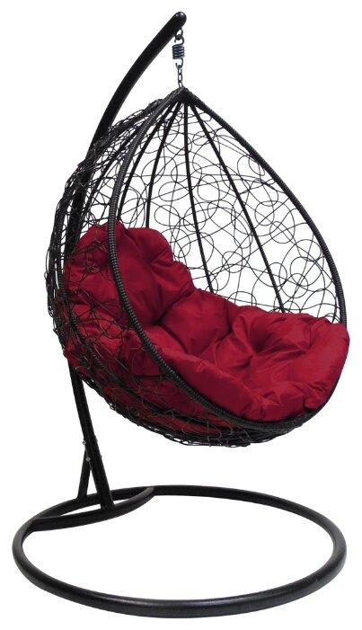 """Купить Черное подвесное кресло """"капля ротанг"""", с бордовой подушкой по низкой цене с доставкой из Яндекс.Маркета"""