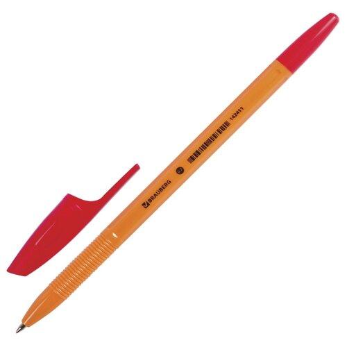 BRAUBERG Ручка шариковая X-333 Orange, узел 0.7 мм (142410/142411/142412), красный цвет чернил ручка гелевая brauberg jet синий