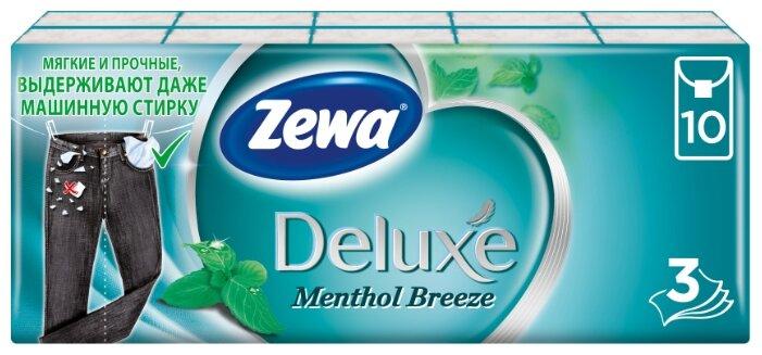 Платочки Zewa Deluxe Ментол бумажные носовые, 3 слоя 21 х 21 см