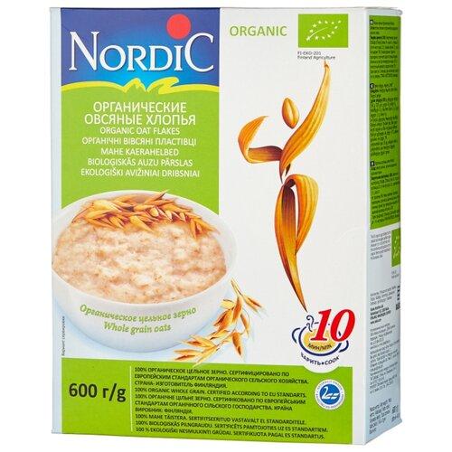 нордик каша овсяные хлопья геркулес финский nordic 600г Nordic Хлопья овсяные органические, 600 г
