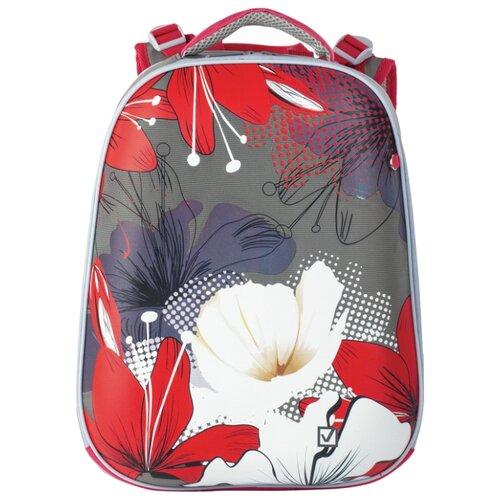 BRAUBERG Рюкзак Extra Цветы (227845), серый/розовый