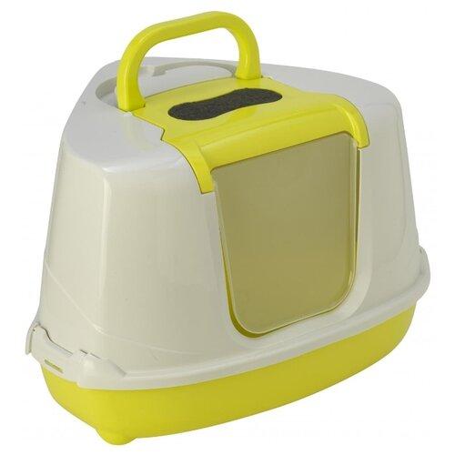 Туалет-домик для кошек Moderna Flip Corner 55.7х45.1х38.2 см лимон 1 шт.