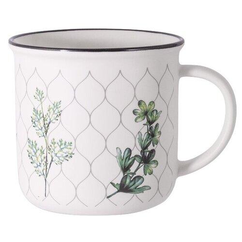 Home & Style Кружка Флора 400 мл белый/зеленый
