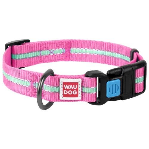 Ошейник WAU DOG Nylon светонакопительный (25 мм) 35-58 см розовый