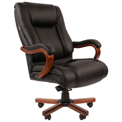 chairman 769 черный хром Компьютерное кресло Chairman Chairman 503 для руководителя, обивка: натуральная кожа, цвет: черный