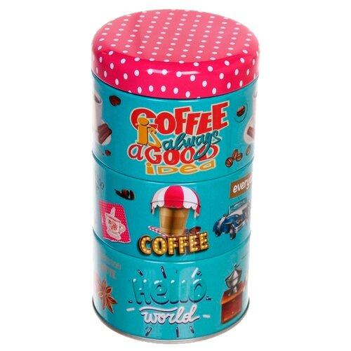 """Zheng DA HARDWARE Банка для продуктов """"Кофе"""" 200 мл в наборе 3 шт. голубой/розовый"""