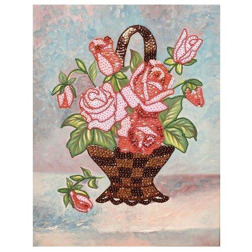 Купить Волшебная Мастерская Мозаика из пайеток на холсте Букет роз МХ-16, Картины из пайеток