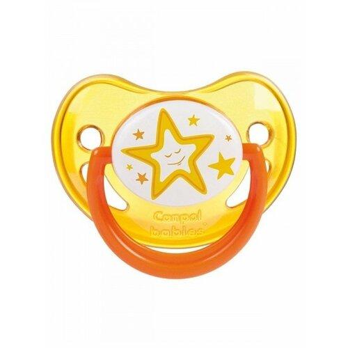 Купить Пустышка силиконовая ортодонтическая Canpol Babies Night Dreams 6-18 м (1 шт.) оранжевый, Пустышки и аксессуары