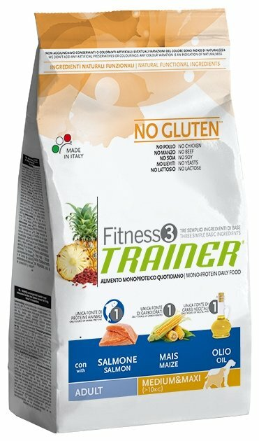 Корм для собак TRAINER Fitness3 No Gluten Adult Medium&Maxi Salmon and maize dry
