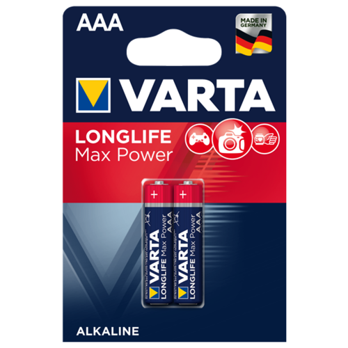 Батарейка VARTA LONGLIFE Max Power AAA 2 шт блистер батарейка varta longlife power 3lr12 1 шт блистер