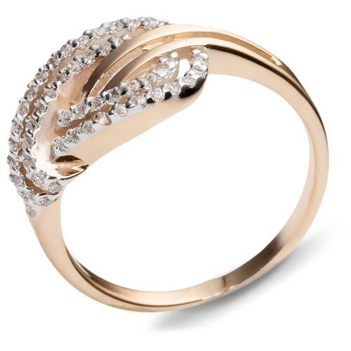 Эстет Кольцо с 49 фианитами из красного золота 01К114468, размер 17.5