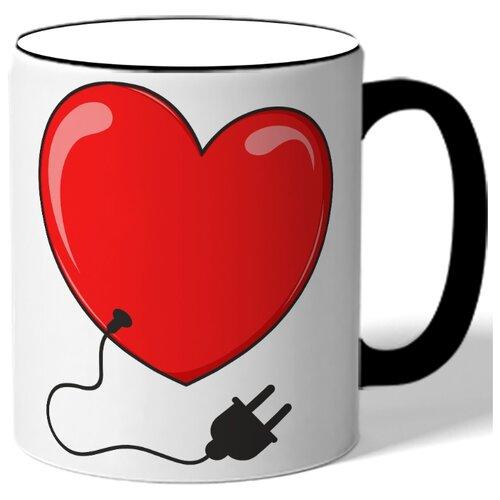 Кружка с цветной ручкой в подарок на 14 февраля - сердечко с проводом от разетки