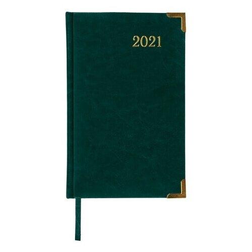 Купить Ежедневник BRAUBERG Senator датированный на 2021 год, искусственная кожа, А5, 168 листов, зелeный, Ежедневники, записные книжки