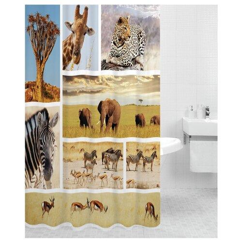 Штора для ванной Bath Plus Africa 180х200 бежевый/зеленый